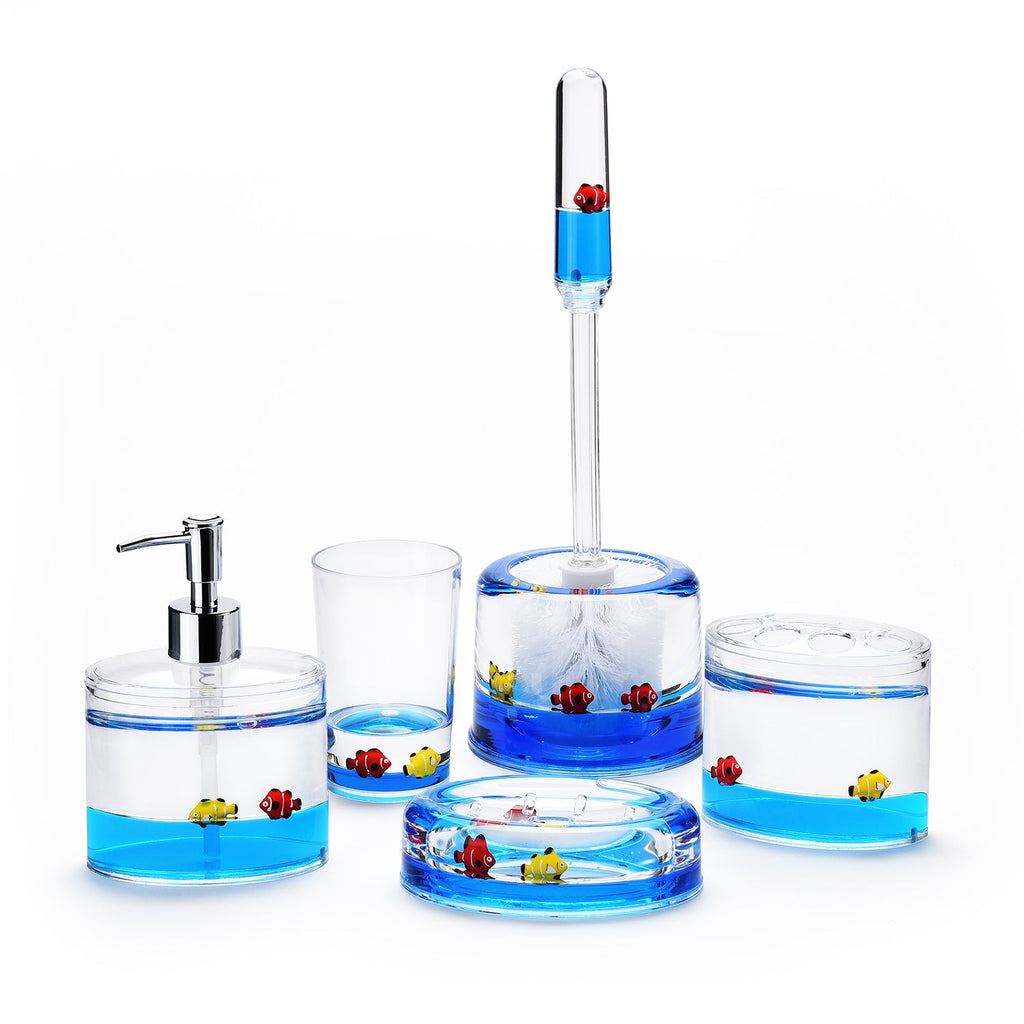 5 Piece Acrylic Liquid 3D Floating Motion Bathroom Vanity Accessory Set Fish