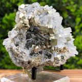 498g 12x7x7cm Gold  Clear Quartz Pyrite with Grey Galena from Huaron, Peru