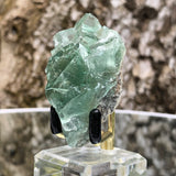 60g 6x4x4cm Glass Green and Clear Fluorite from Xianghualing,Hunan,CHINA