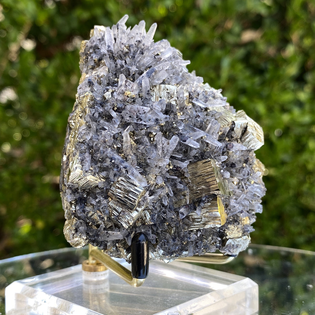408g 7x7x5cm Gold pyrite with Quartz Galena from Peru - Locco Decor