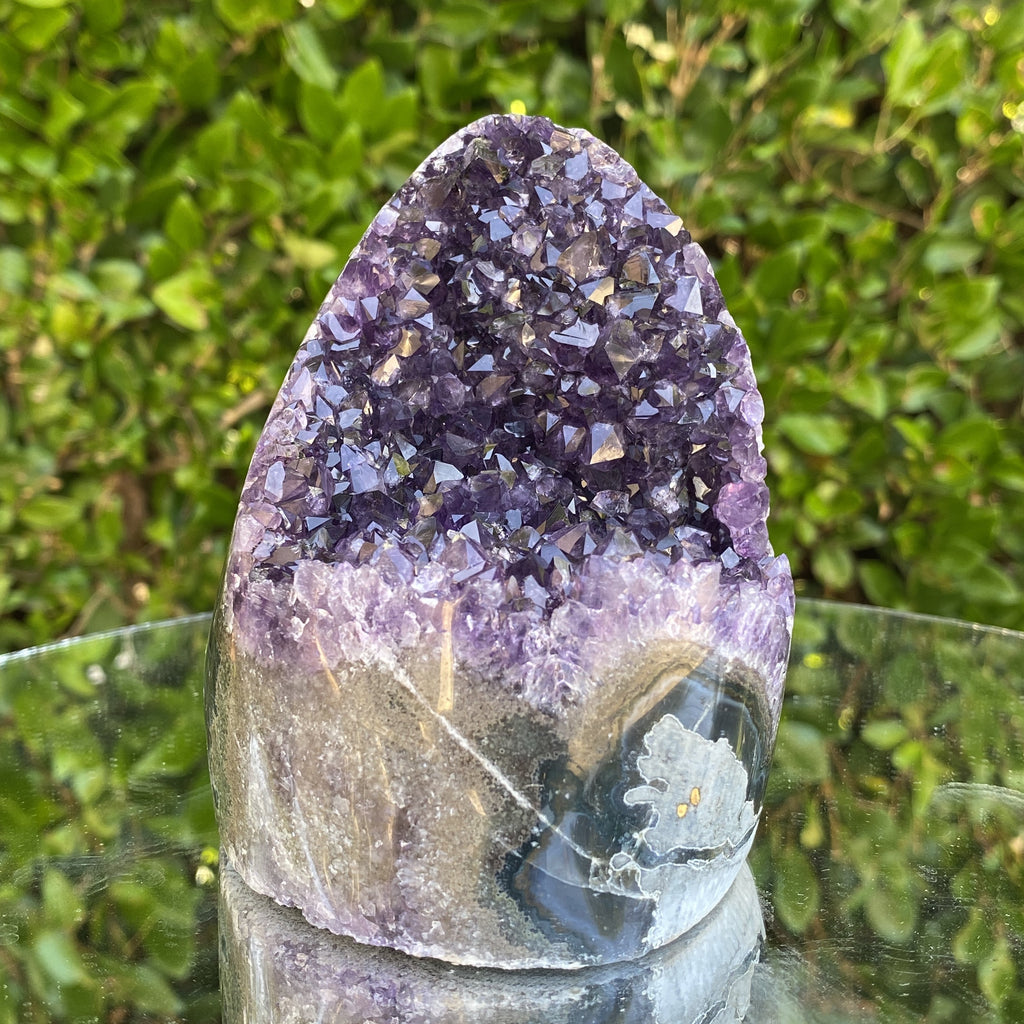 1.056kg 11x10x9cm Grade A+ Big Smooth Crystal Purple Amethyst Geode from Uruguay - Locco Decor