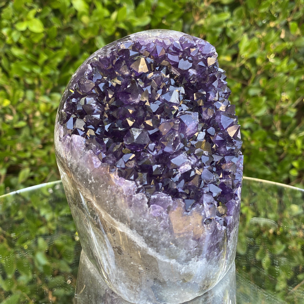 1.584kg 13x12x9cm Grade A+ Big Smooth Crystal Purple Amethyst Geode from Uruguay - Locco Decor