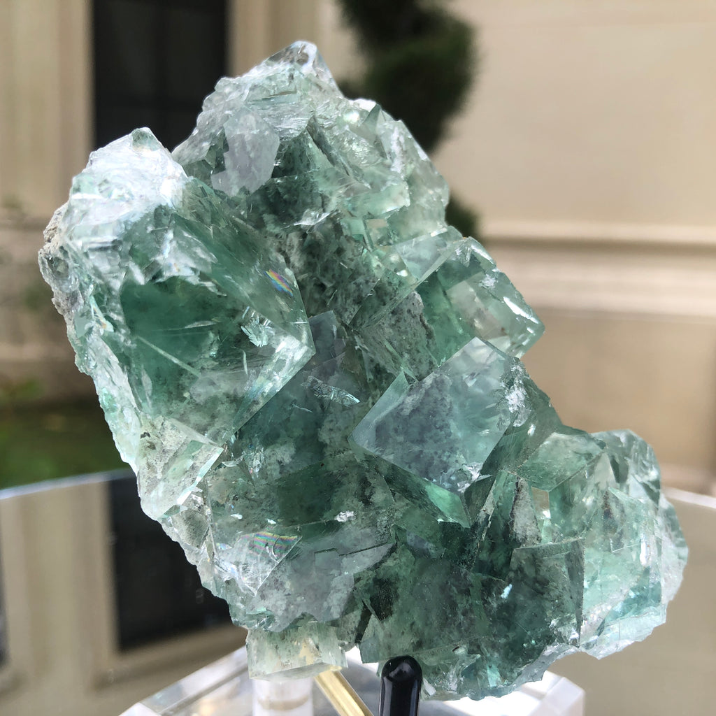 224g 9x8x5cm Glass Green and Clear Fluorite from Xianghualing,Hunan,CHINA