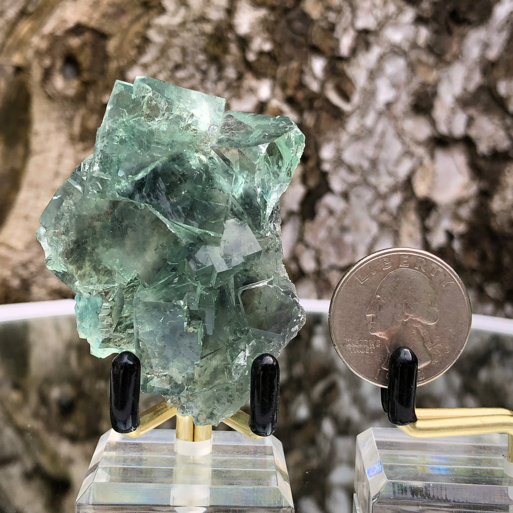 66g 6x5x3cm Glass Green and Clear Fluorite from Xianghualing,Hunan,CHINA