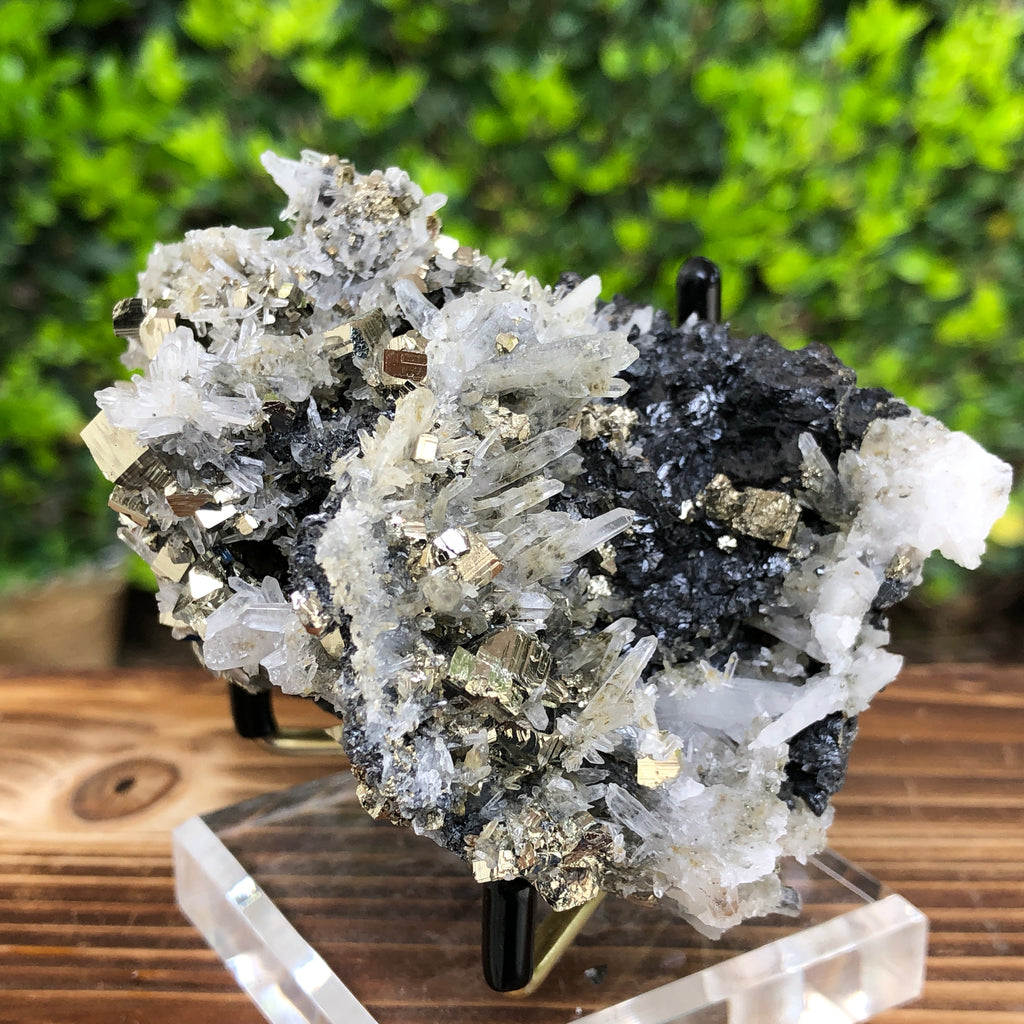 446g 9.5x5.5x6.5cm Gold  Clear Quartz Pyrite with Grey Galena from Huaron, Peru