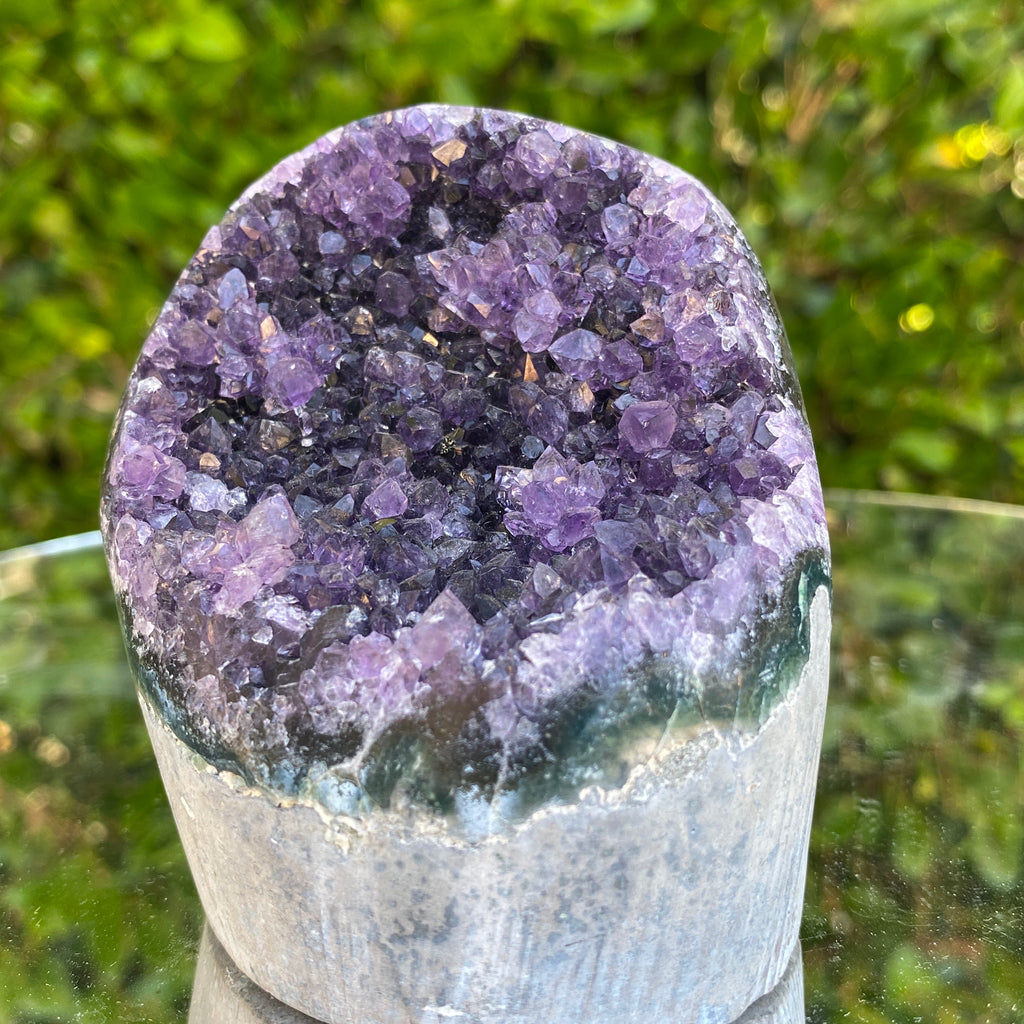 424g 8x8x6cm Grade A+ Big Smooth Crystal Purple Amethyst Geode from Uruguay