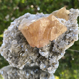 440g 12x9x7cm Orange Scheelite with Silver muscovite from China - Locco Decor