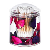Acrylic Liquid 3D Floating Motion Round Qtip Cotton Ball Swab Holder Dispenser with Lid Leaf