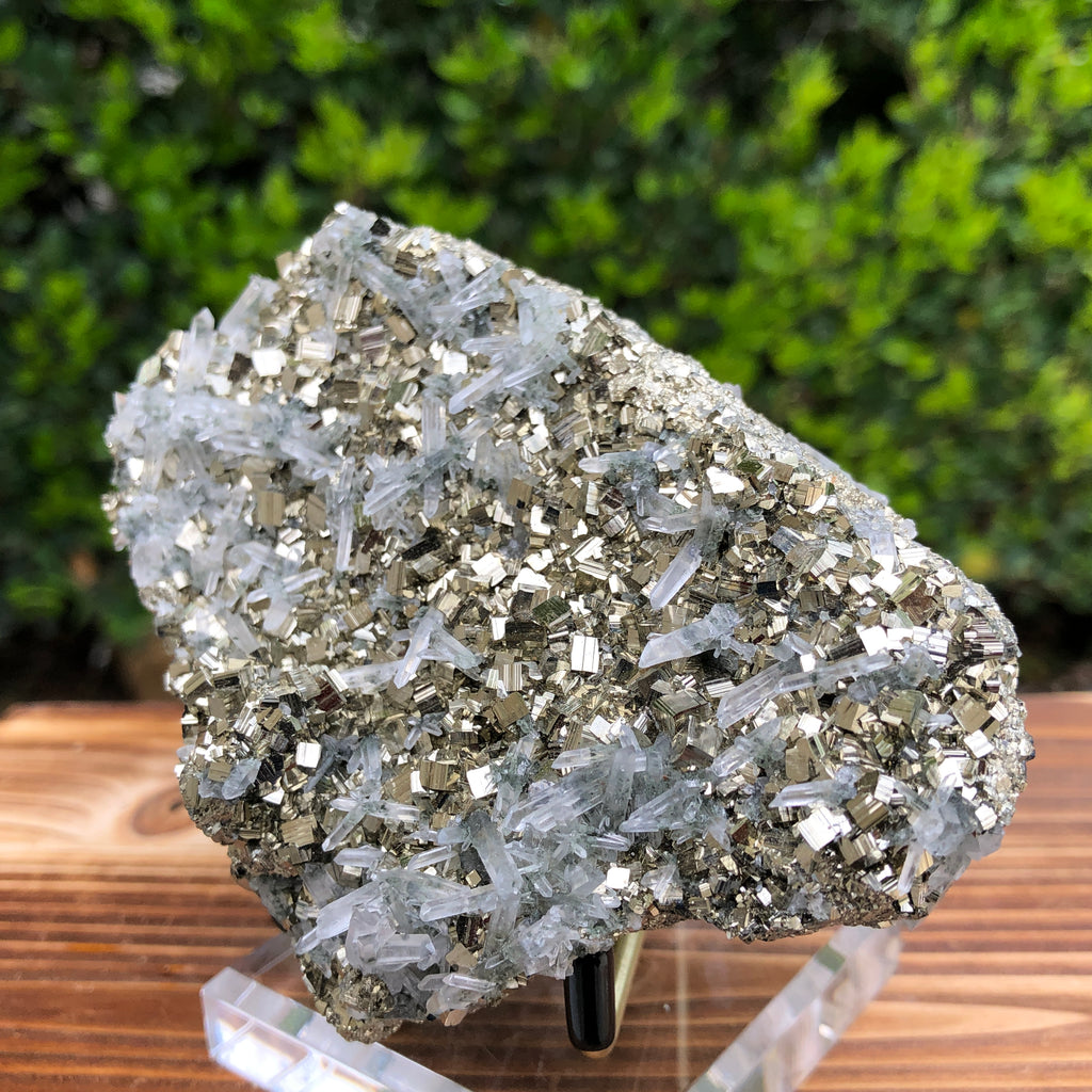 592g 11x7x5cm Gold  Clear Quartz Pyrite with Grey Galena from Huaron, Peru