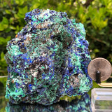 804g 13x12x10cm Shiny Blue Azurite w/ green Malachite from Sepon Mine, Laos