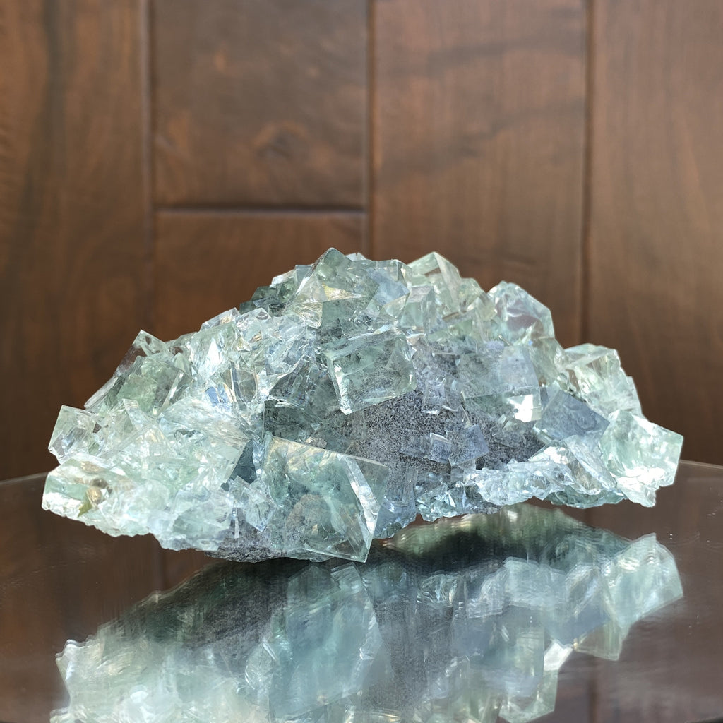 404g 13x7x6cm Glass Green Clear Transparent Fluorite from China - Locco Decor