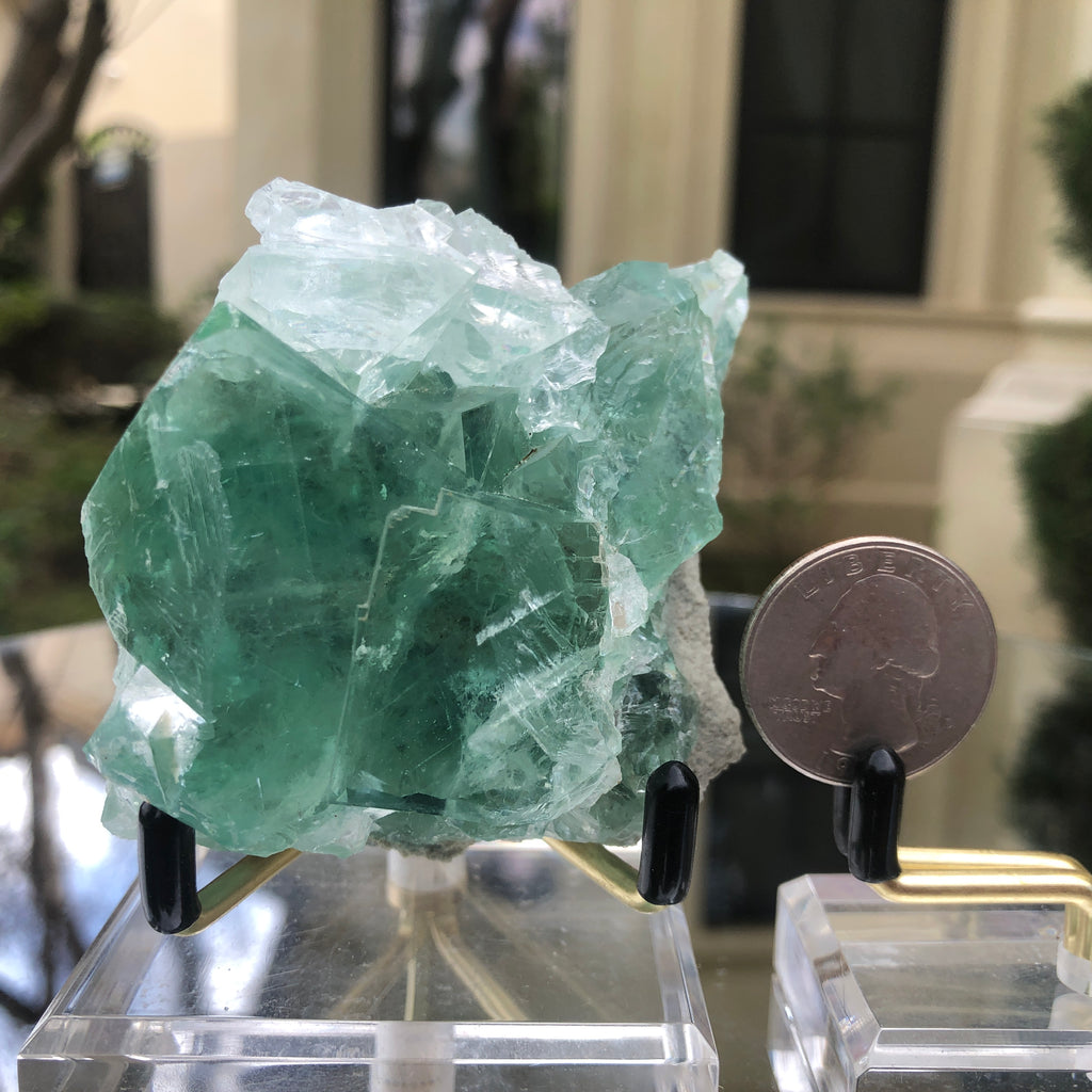 252g 9x7x5cm Glass Green and Clear Fluorite from Xianghualing,Hunan,CHINA