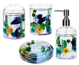 4 Piece Acrylic Liquid 3D Floating Motion Bathroom Vanity Accessory Set Flower