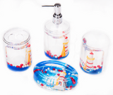 4 Piece Acrylic Liquid 3D Floating Motion Bathroom Vanity Accessory Set Lighthouse