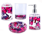 4 Piece Acrylic Liquid 3D Floating Motion Bathroom Vanity Accessory Set Leaf