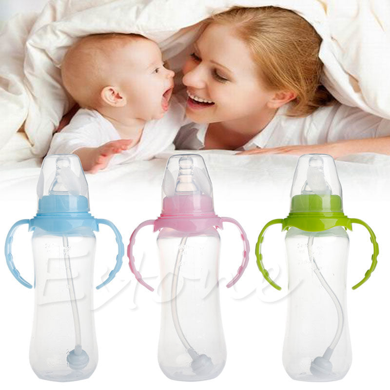 240ML Baby Cup Children Drinking Infant Milk Feeding Bottle With Straw