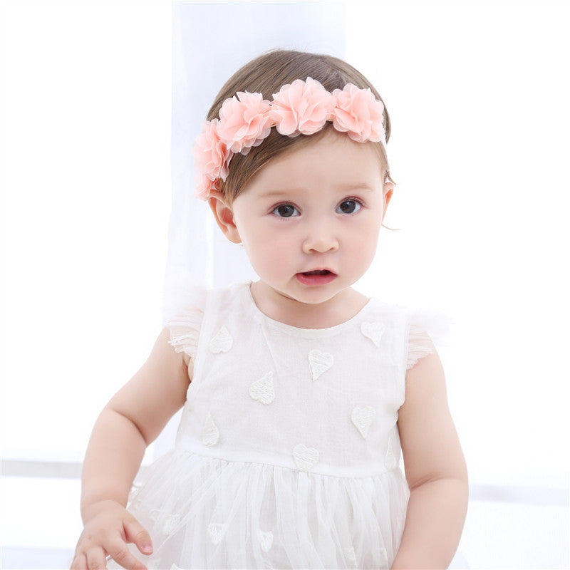 Flower Crown Chiffon Flower Baby Girl Pink Hairband