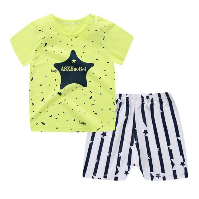 Cute Cartoon Baby Boy Clothes Set Shirt+Pants