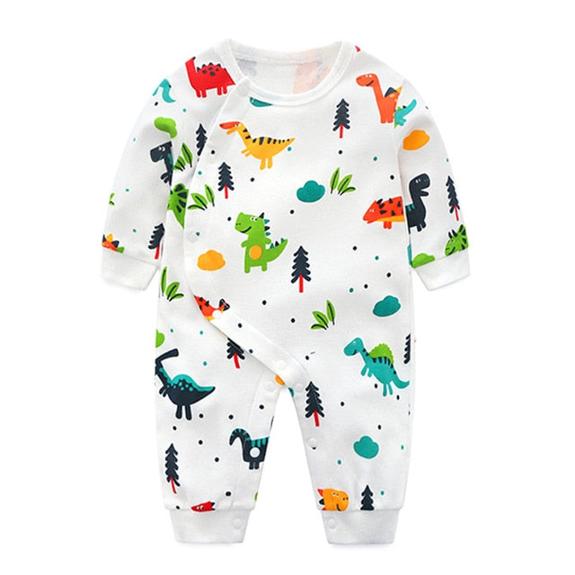 Adorable Dinosaur Print Long Sleeve Jumpsuit for Newborn Boys and Girls