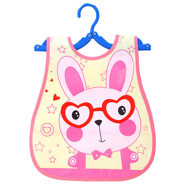 Adjustable Waterproof Lunch Feeding Cartoon Print Baby Bibs