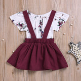 2-piece Baby Girl Floral Print Jumpsuit and Dress