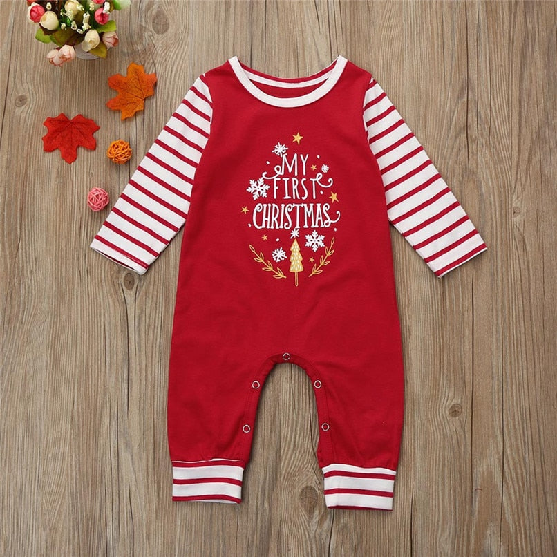 Christmas Letter Print Long Sleeve Jumpsuit
