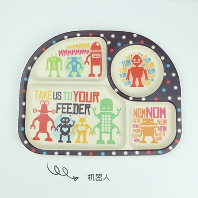 Cartoon Baby  Plate for Girl Boy Children Dinner Cute Plate Kids Feeding Plate Children Gift 100% Bamboo Tray-001 - WowmeZone