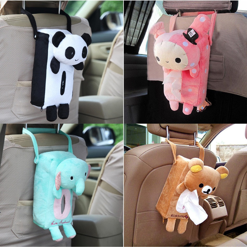 4 Colors Cute Animal Car Tissue Holder Back Hanging Tissue Box Covers Napkin Paper Towel Box Holder Case Paper Towel Holder - WowmeZone