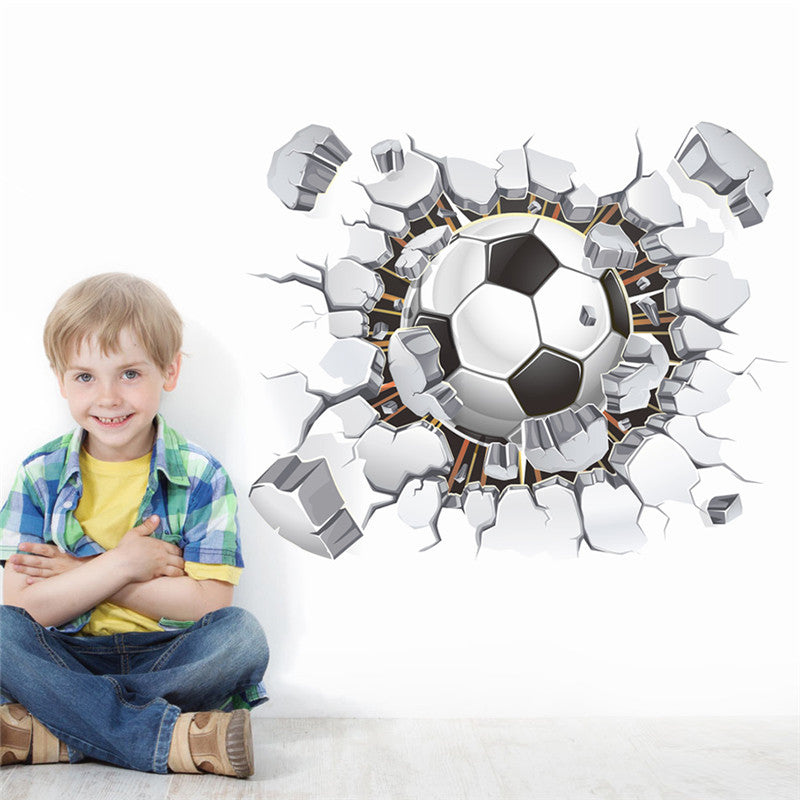 Broken Wall Football 3d Vivid Wall Stickers For Kids Rooms Home Decor Art Pvc Wallpaper Diy Poster Mural Art Soccer Wall Decals - WowmeZone