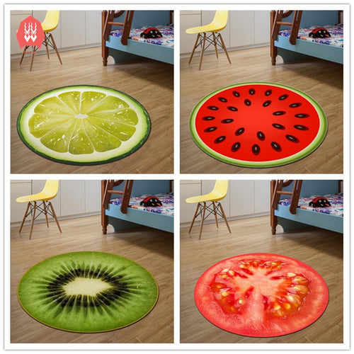 Round Carpet Fruit 3D Print Soft Carpets Anti-slip Rugs Computer Chair Mat Kiwi Watermelon Floor Mat for Kids Room Home Decor - WowmeZone