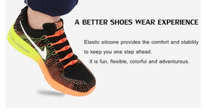 12pcs/lot Black Round Creative No Tie Shoelaces Elastic Silicone Shoe Lace N026 - WowmeZone