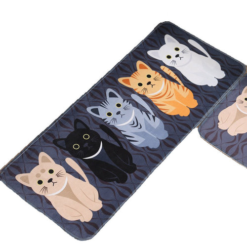 Kawaii Welcome Floor Mats Animal Cat Printed Bathroom Kitchen Carpets Doormats Cat Floor Mat for Living Room Anti-Slip Tapete - WowmeZone