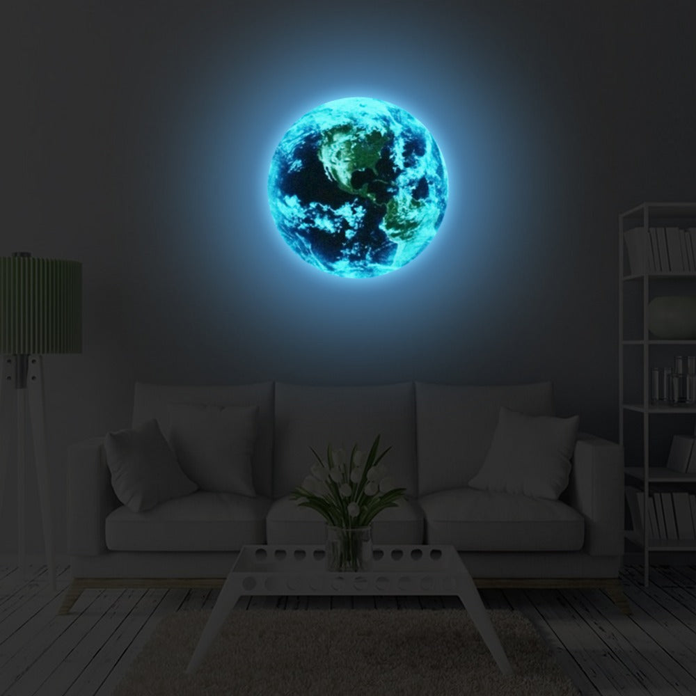 New 1PCS Luminous blue earth Cartoon DIY 3d Wall Stickers for kids rooms bedroom wall sticker Home decor Living Room Hot sale - WowmeZone