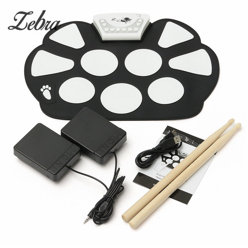 6Pcs/set 39x 27.5x2.5cm Silica Gel Foldable Portable Roller Up USB Electronic Drum Kit+2 Drum Sticks+2 Foot pedals - WowmeZone