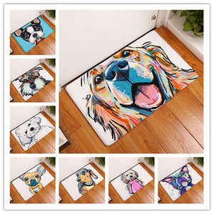 New Cartoon Style Lovely Dog Painting Dogs  Print Carpets Anti-slip Floor Mat Outdoor Rugs Animal Front Door Mats 40x60 50x80cm - WowmeZone