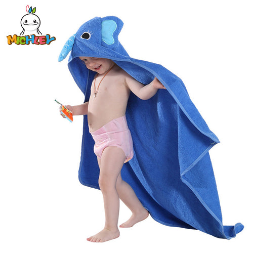MICHLEY Kids Towel 2018 Toddler 100% Cotton Bathrobe Baby Boys Girls Spring Animal Hooded Bath Towel Children Cartoon Towel QWA - WowmeZone
