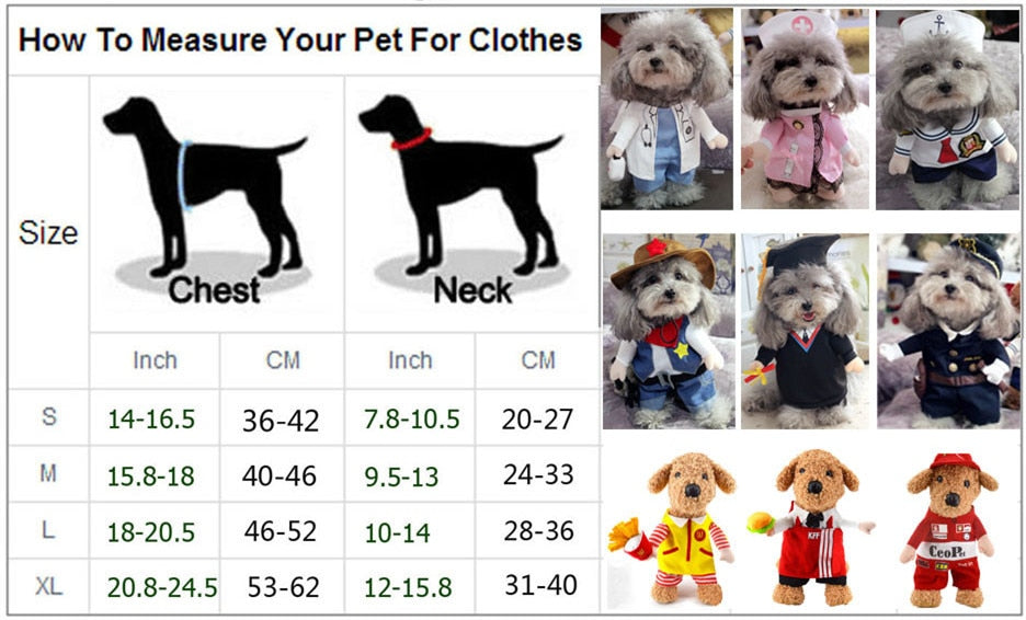 Funny Dog Clothes Cool Pet Dog Costume Suit Puppy Clothes Coat Clothing For Dog Costume Outfit Nurse Pet Suit Ropa Perro 27S2 - WowmeZone