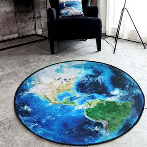 Simanfei Moon Round Carpets 2018 3D Printed Earth Planets Mat Anti-slip Circular Floor Rugs Computer Chair Mats Kids Room Decor - WowmeZone