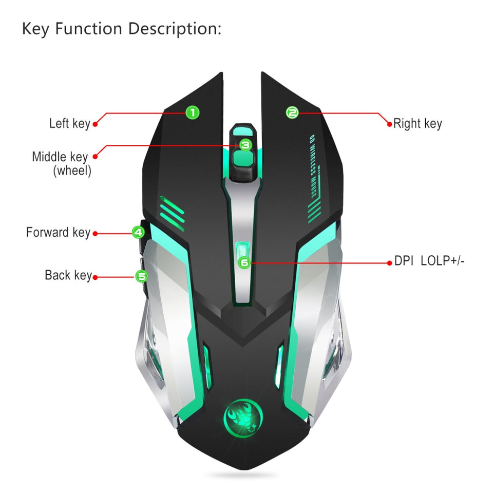 HXSJ M10 Wireless Gaming Mouse 2400dpi Rechargeable  7 color Backlight Breathing Comfort Gamer Mice for Computer Desktop Laptop - WowmeZone
