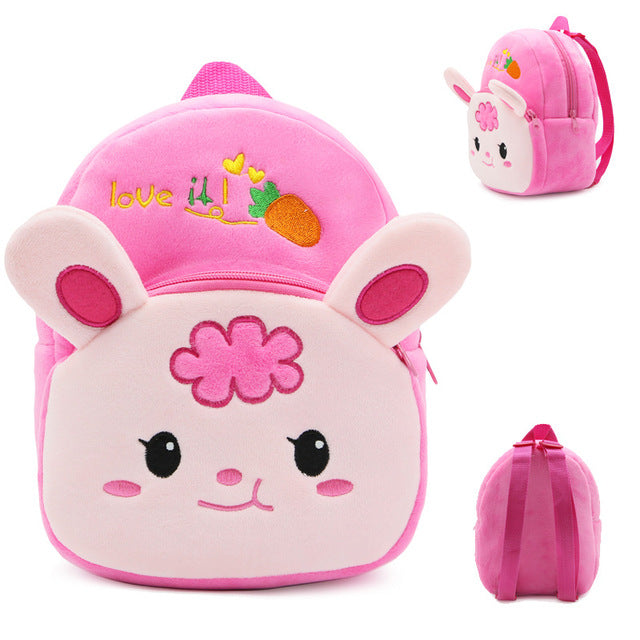 Cute Cartoon Baby Toy School Bag Animal Shape Mini Plush Backpack Kids Outdoor Travel Pack Bag Student Kindergarten Bags - WowmeZone