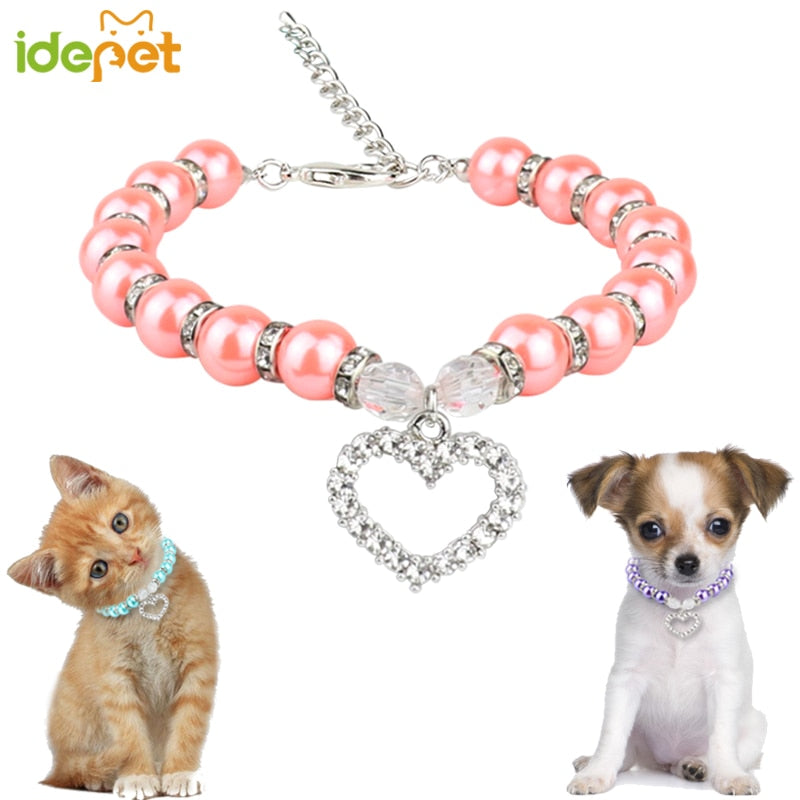 Fashion Pet Cat Accessories Pearl Necklace Cat Supplies Love Pendant Pet Products Puppy Dog Cats Collar & Ldads Jewelry 35 P1 - WowmeZone