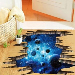 Outer Space Planets 3D Wall Stickers Cosmic Galaxy Wall Decals for Kids Room Baby Bedroom Ceiling Floor Decoration - WowmeZone