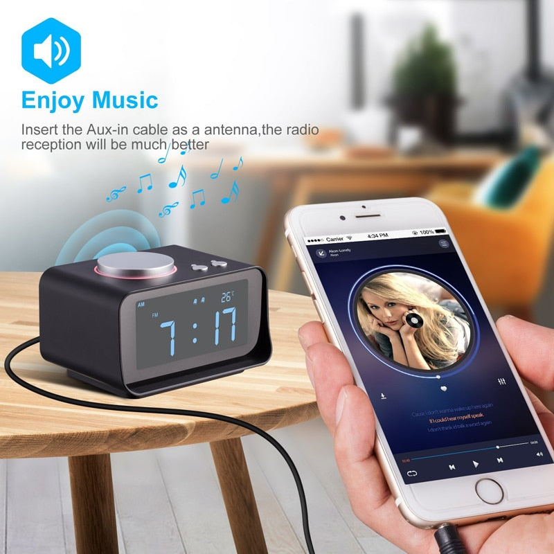 EAAGD Digital Alarm Clock FM Radio Loud Alarm Clock for Heavy Sleepers with Dual Alarm ,AUX in and Dual USB Charging Ports - WowmeZone