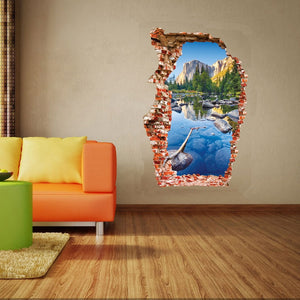 Breaken Wall 3D Wall Stickers Colorful Pond Home Decoration living room background Mountain Scenery Broken Hole The Door Sticker - WowmeZone