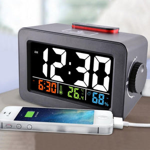Gift Idea Bedside Wake Up Digital Alarm Clock with Thermometer Hygrometer Humidity Temperature Table Desk Clock Phone Charger - WowmeZone
