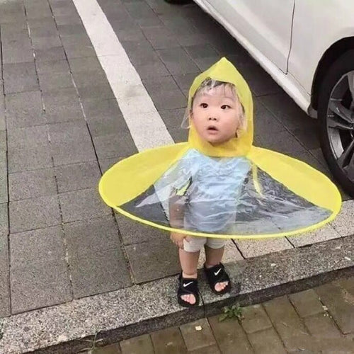 UFO Baby Raincoat Rain Hat Umbrella Cover Cloak Non Handle Rain Cape Creative Design Funny Baby Outdoor Play Kindergarten - WowmeZone