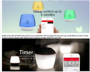 PLAYBULB Electric Smart Candle LED Flameless RGB scented Romantic Flash light Colored Glitter battery operated Candles Holder - WowmeZone