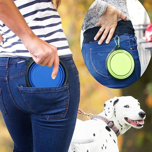Food Grade Silicone Foldable Dog Bowl Outdoor Portable Hound Sporting Dog Feeder Water Bowl Dishes Climbers Emergency Equipment - WowmeZone