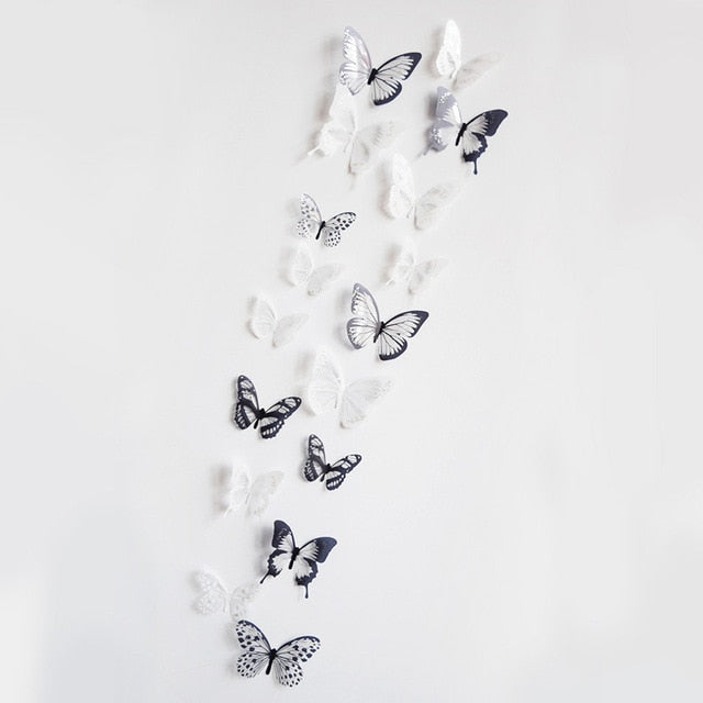 18pcs/lot 3d crystal Butterfly Wall Sticker Art Decal Home decor for Mural Stickers DIY Decals PVC Christmas Wedding Decoration - WowmeZone