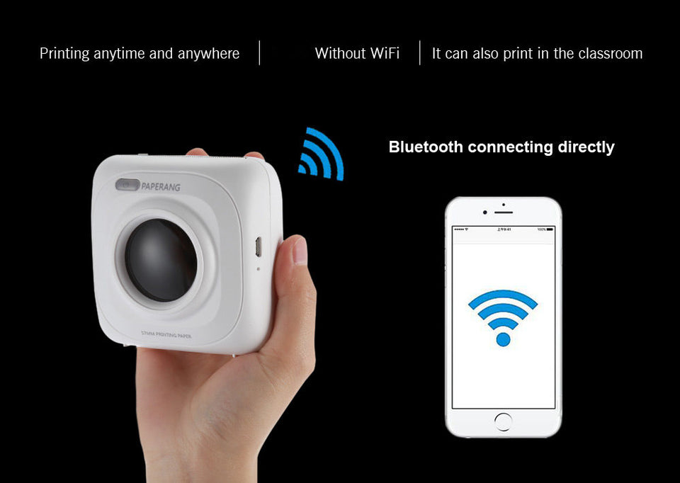 PAPERANG P1 Portable Bluetooth 4.0 Printer Thermal Photo Printer Phone Wireless Connection Printer 1000mAh Lithium-ion Batter - WowmeZone